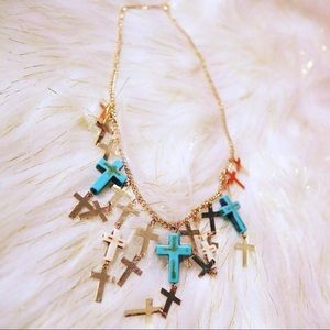 Layered Howlite & Turquenite Gold Cross Necklace